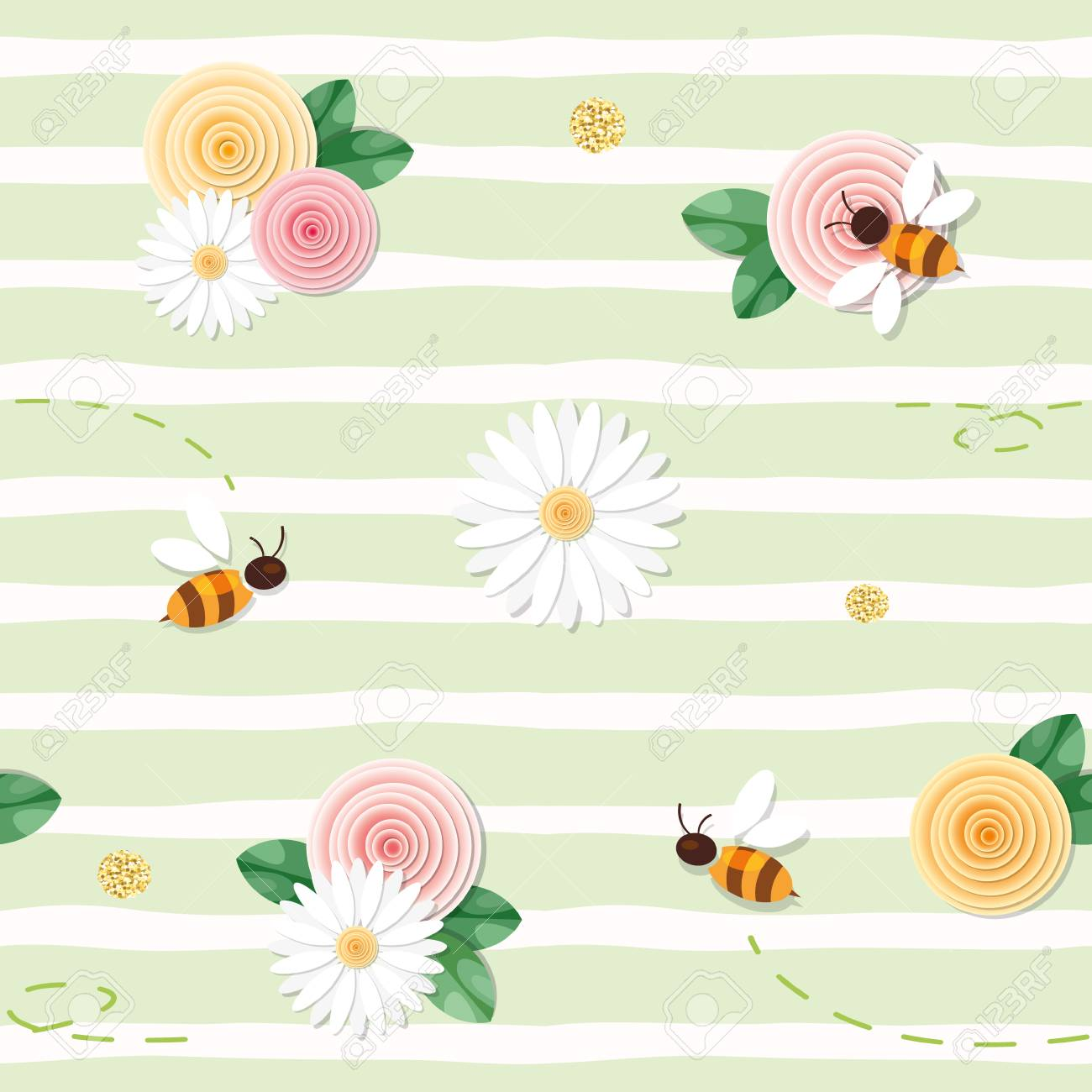 Summer floral seamless pattern. Roses, chamomiles, flying bees on stripped green background. vector - 117367732