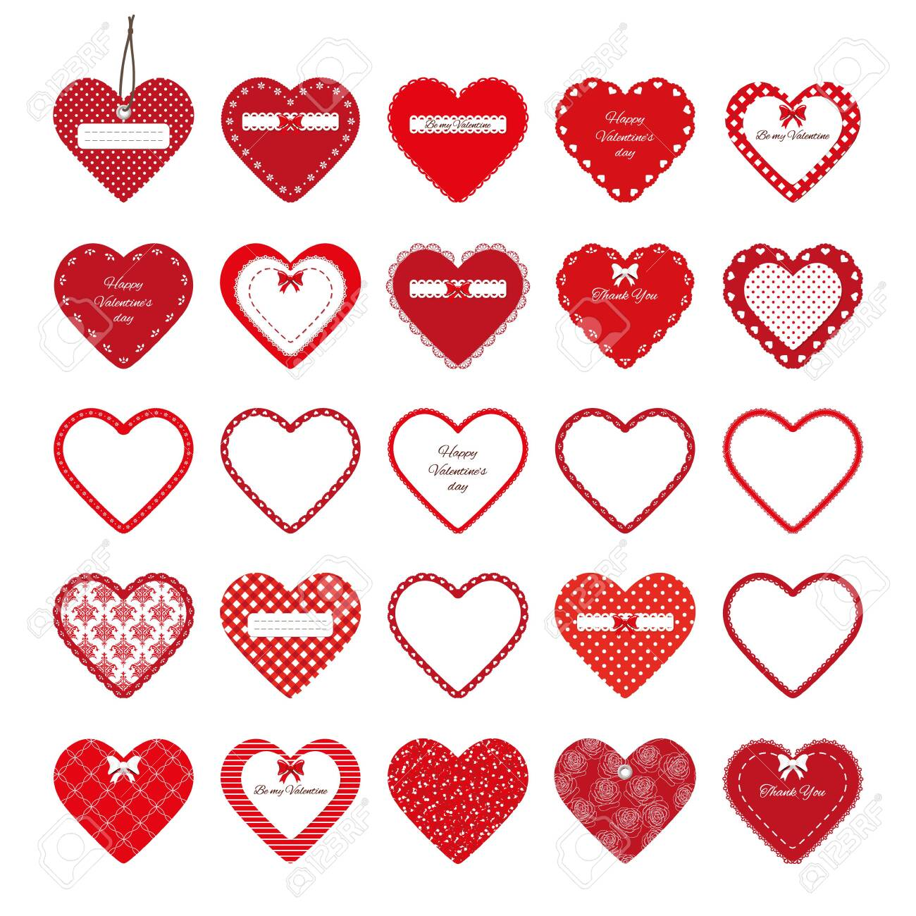 Valentines day stickers. Decorative cut out red hearts set isolated on white. - 117367779