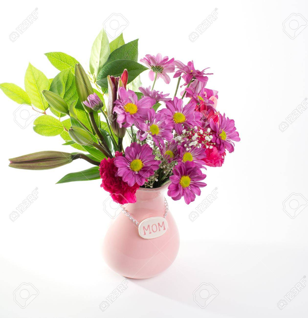 Pretty pink flowers in pink mothers day vase for mom stock photo pretty pink flowers in pink mothers day vase for mom stock photo 13947049 mightylinksfo