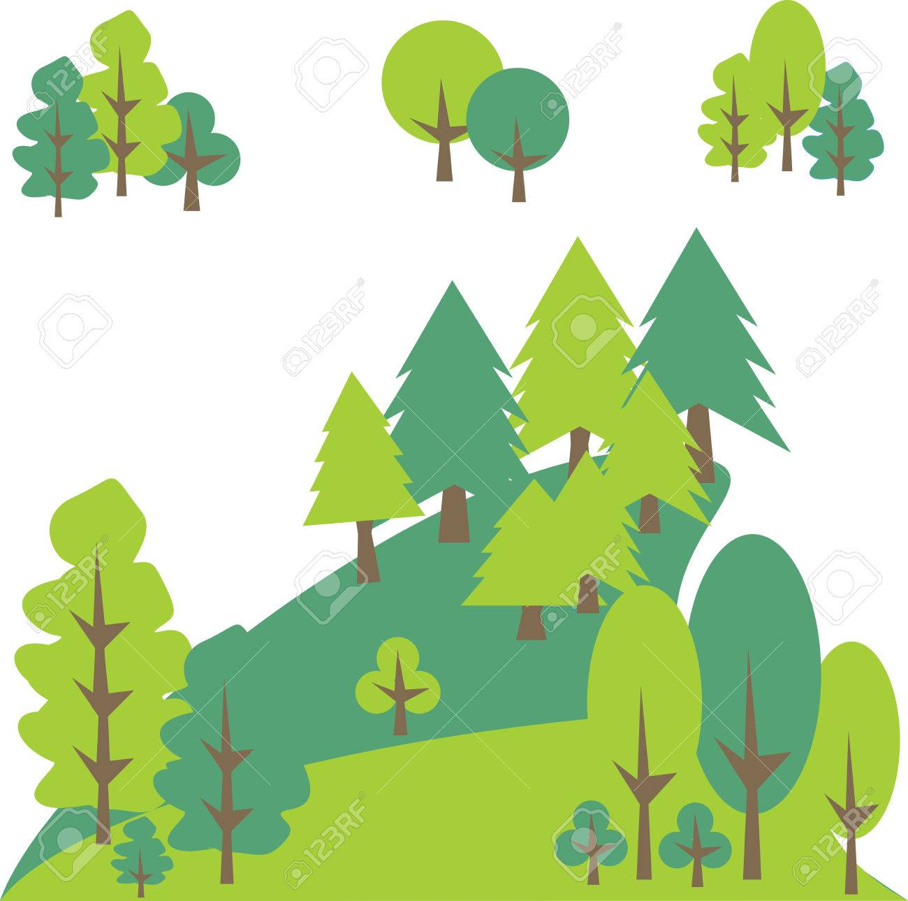 mountain landscape with pines and trees vector graphic royalty rh 123rf com vector trees outline vector trees outline