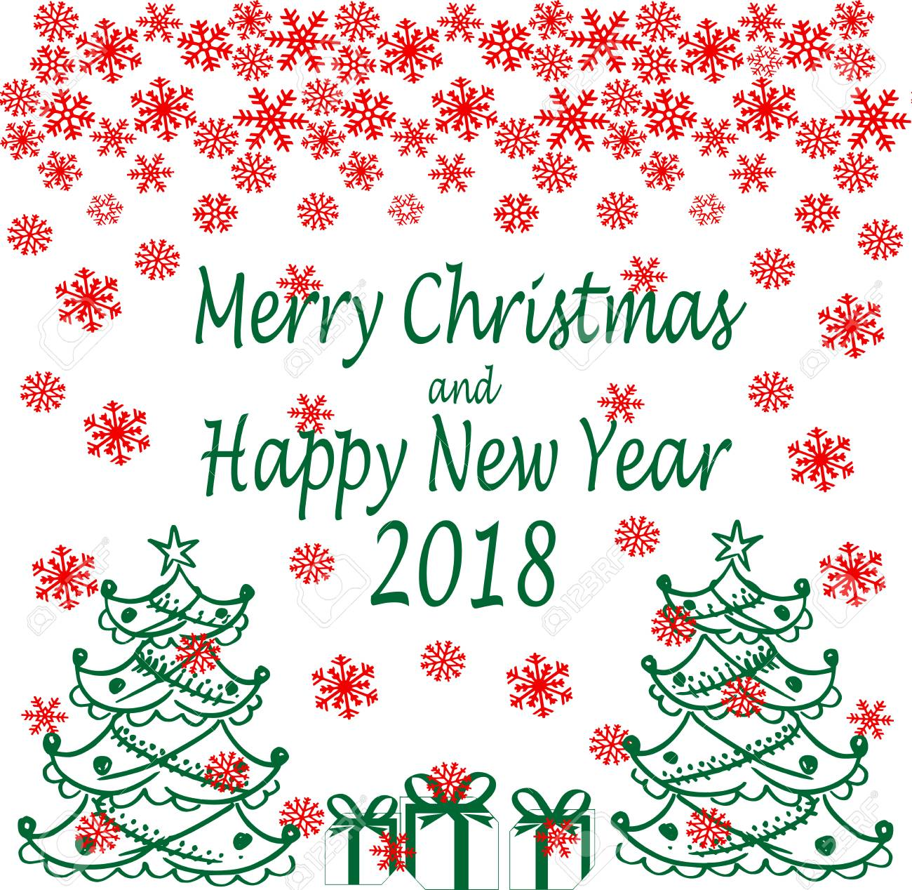 Merry Christmas And Happy New Year. Seasons Greetings. Snowflakes ...