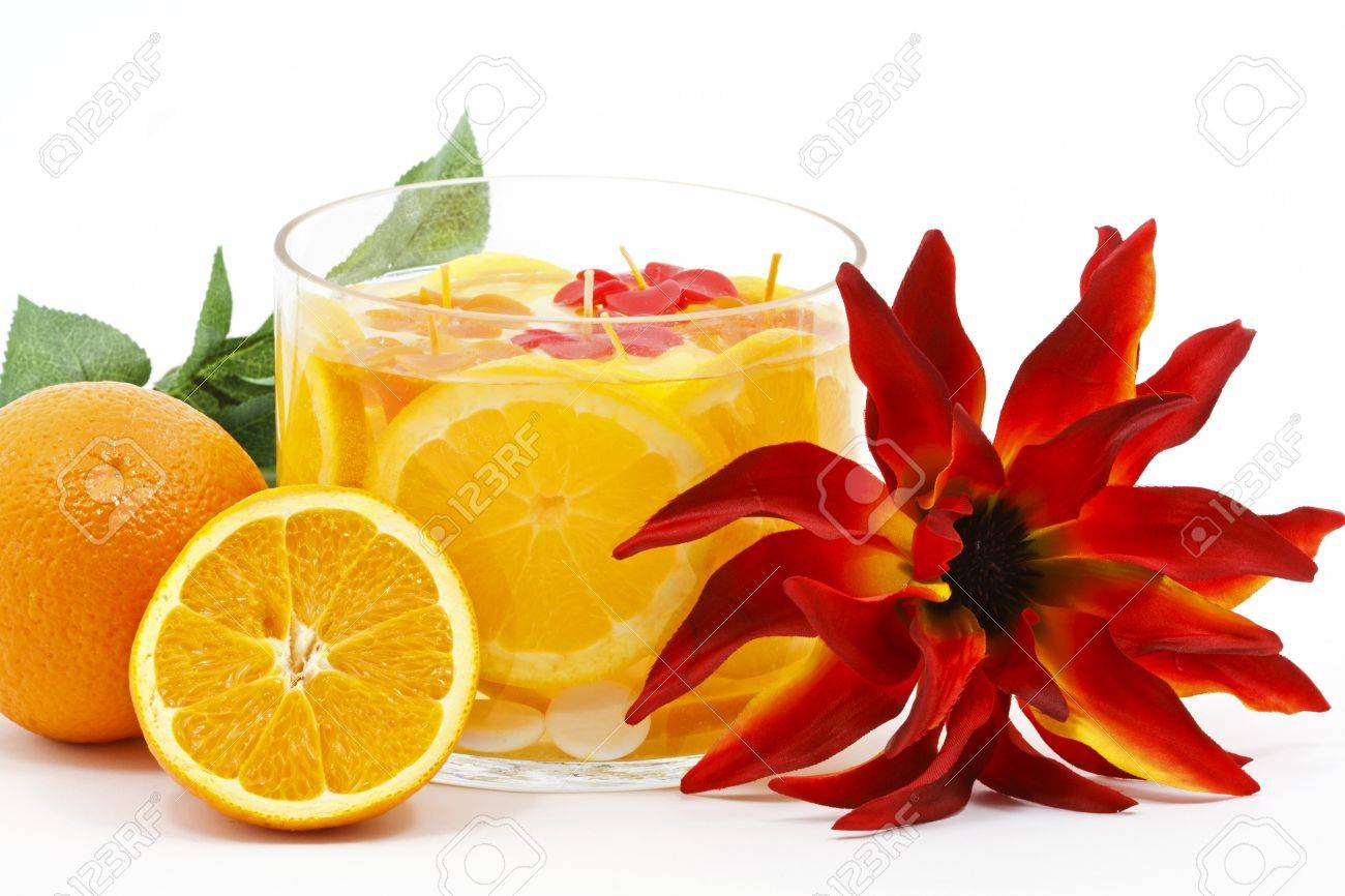 Beautiful Home Decoration With Combined Fruit And Flower In Glass Stock Photo    9653922