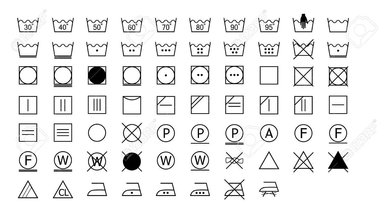 Washing Instructions Icons Set Royalty Free Cliparts Vectors And