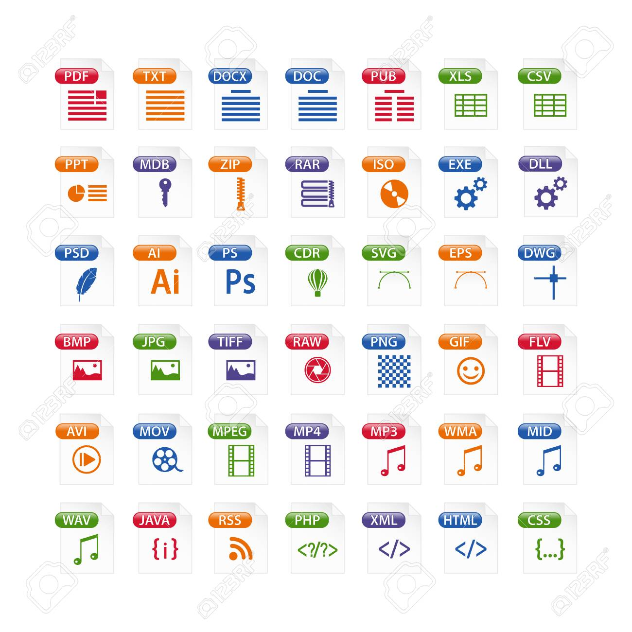 colorful set of file type icons. file format icon set in color, files symbols buttons - 97539267