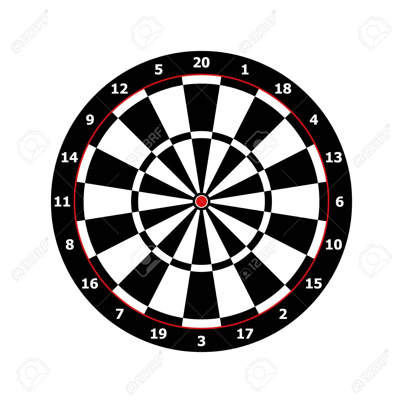 classic darts board game template in black and white vector