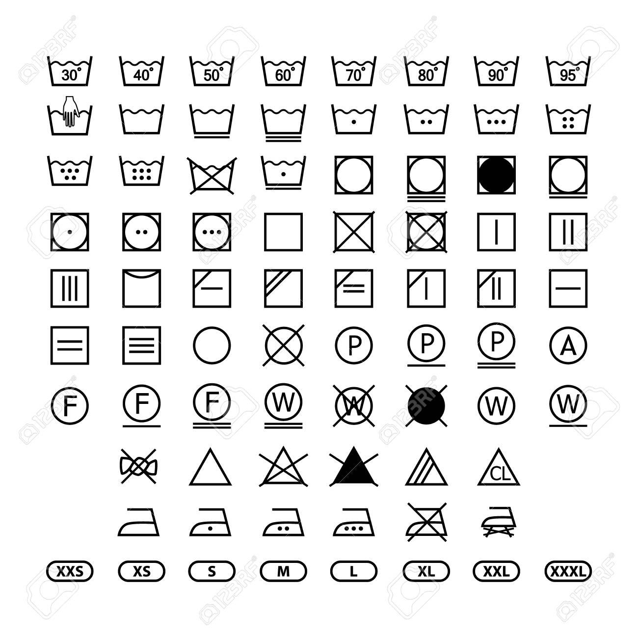 clothing washing label instructions, laundry symbols icon set, washing label icons for clothes - 106383336