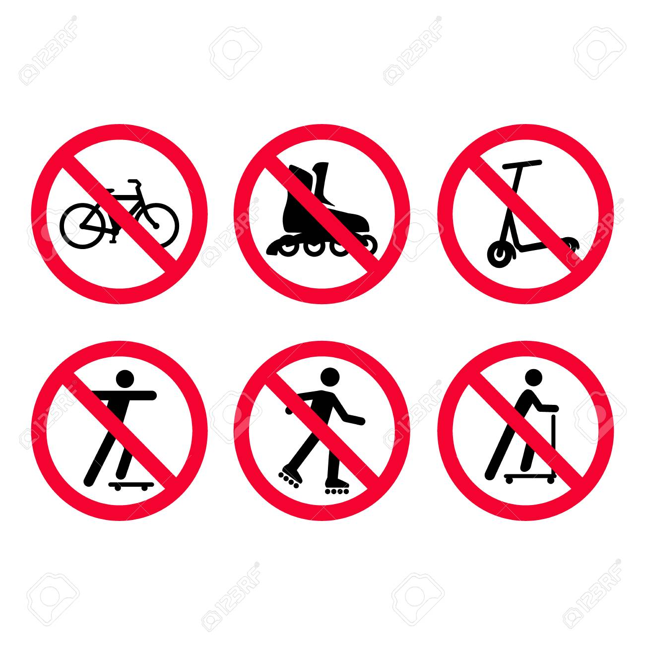 Red prohibition signs set. No bicycles, biking, no roller skating, no scooters. Vector illustration. - 98677474