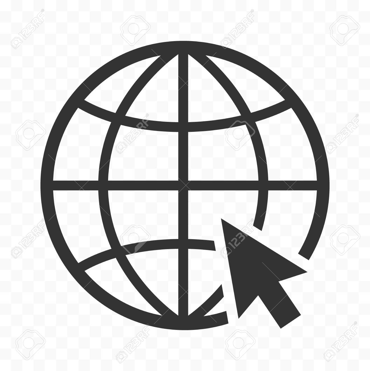 Globe symbol web icon with mouse pointer arrow sign  Planet Earth