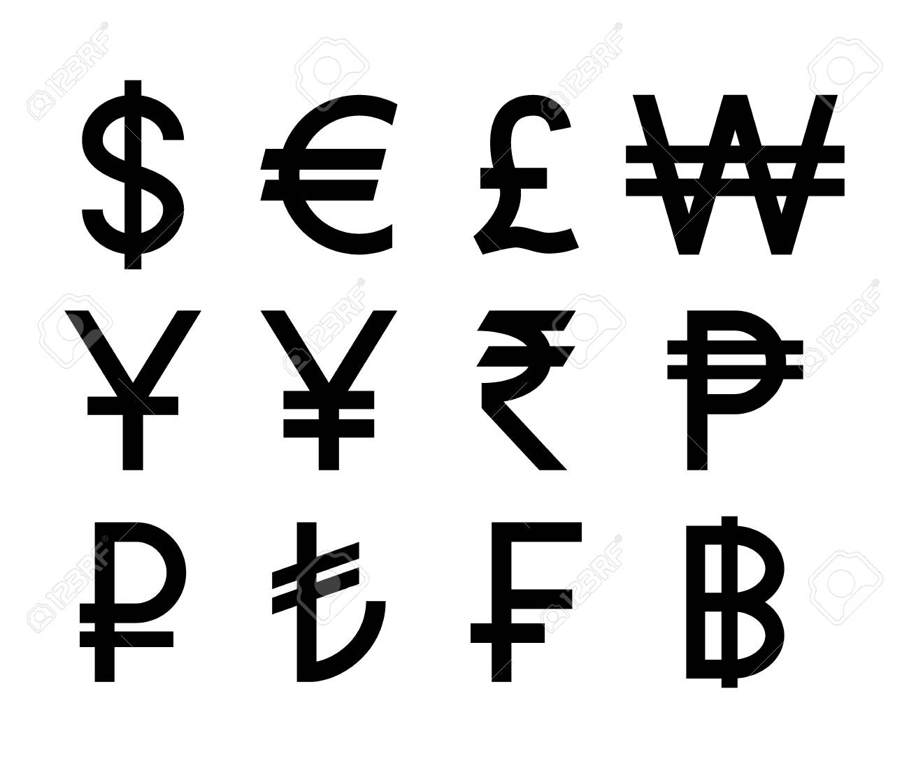 Popular Countries Currencies Symbols Black Isolated Currency
