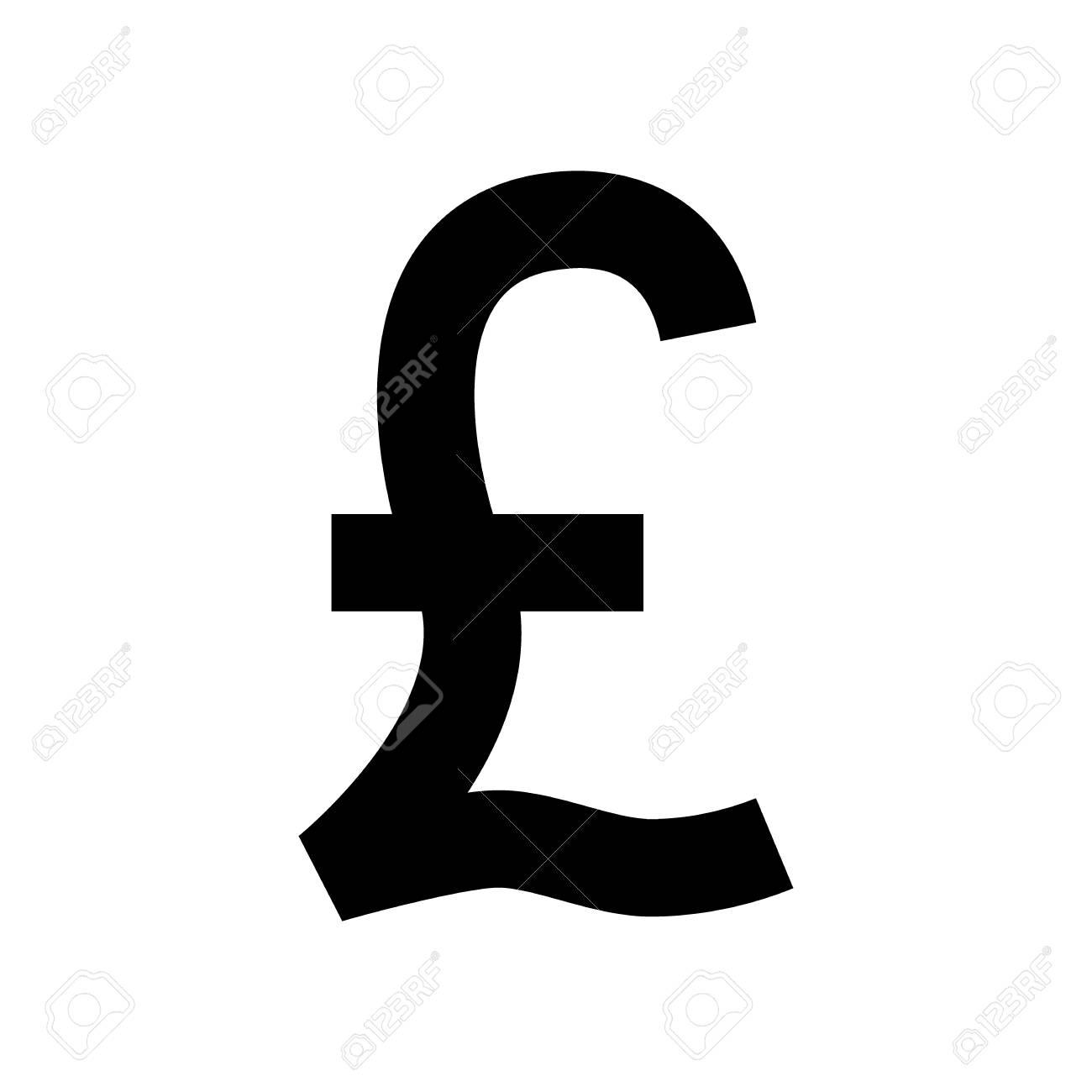 Uk Pound Currency Symbol Black Silhouette British Pound Sign