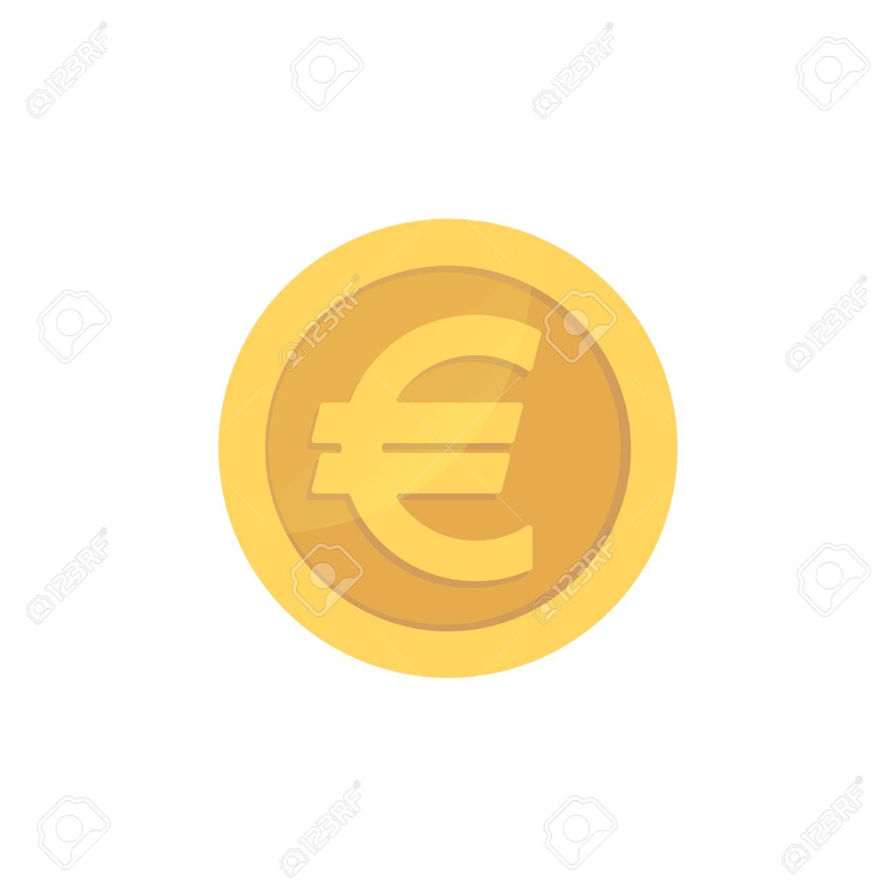 Golden glossy euro coin. Gold pictograph euro shiny coin. - 100505454