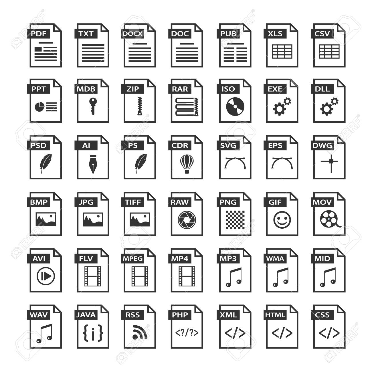 File type icons. Files format icon set in black and white, software symbols buttons - 100892958
