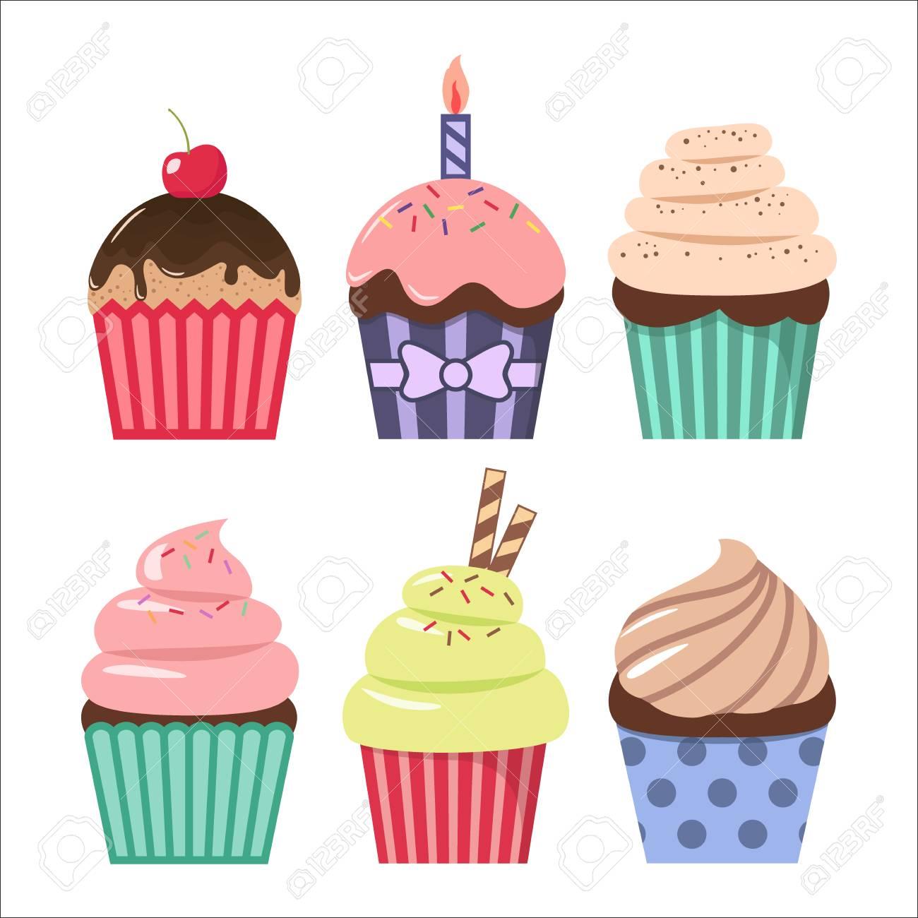 Clip art cartoon cupcake set. Colorful cupcakes clipart cartoons. - 101621188