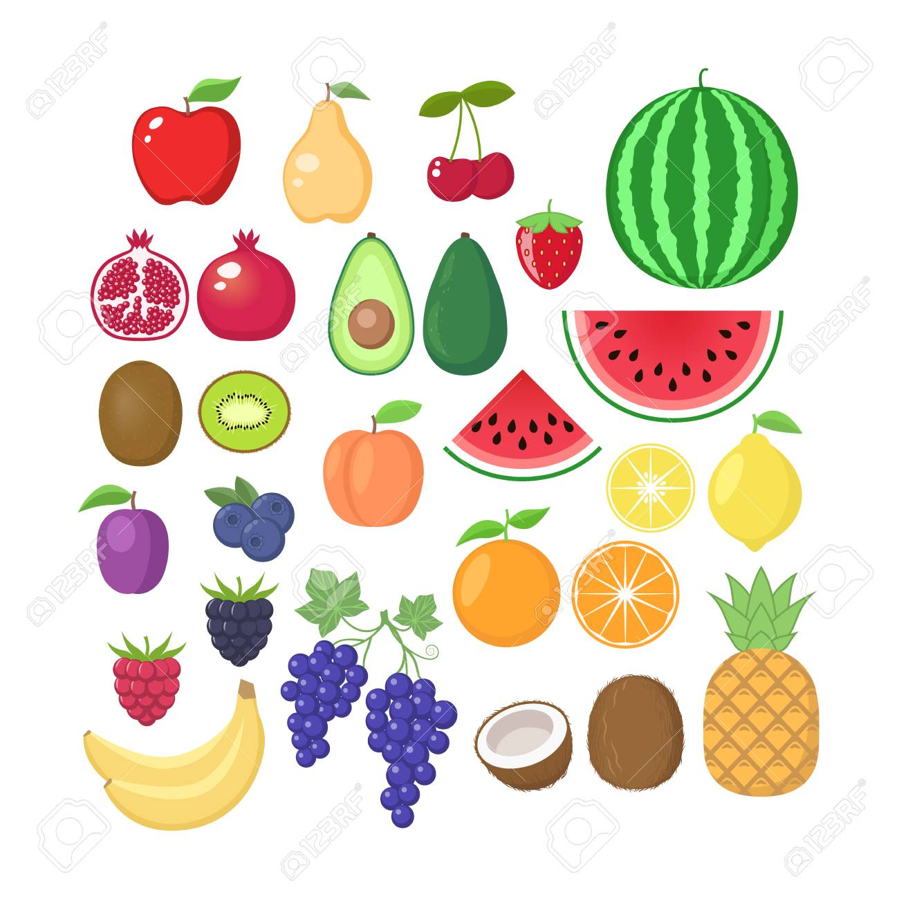 Various Fruit Collection Vector Fruits Cartoons Set Fruit Clipart Royalty Free Cliparts Vectors And Stock Illustration Image 106093766