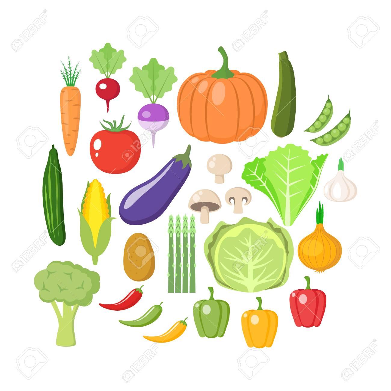 Excellent Colorful Vegetables Clipart Set Vegetable Colored Cartoon Vector Interior Design Ideas Pimpapslepicentreinfo