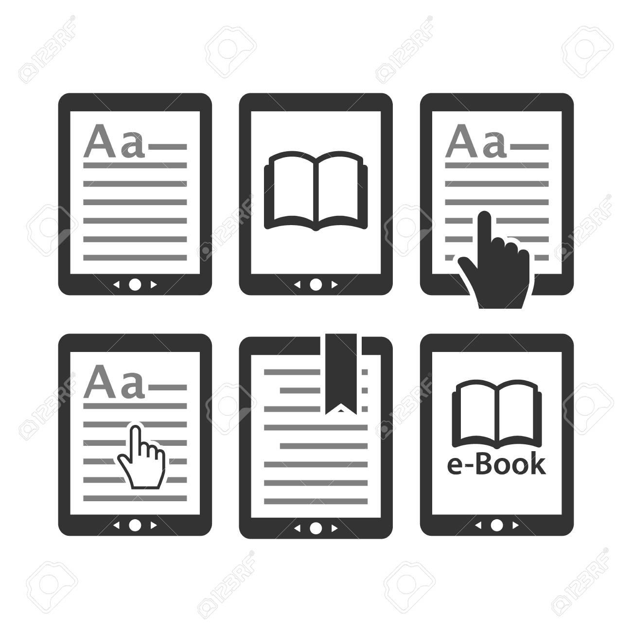 Ebook Tablet E Reader Device Icon Set E Reading E Book Icons
