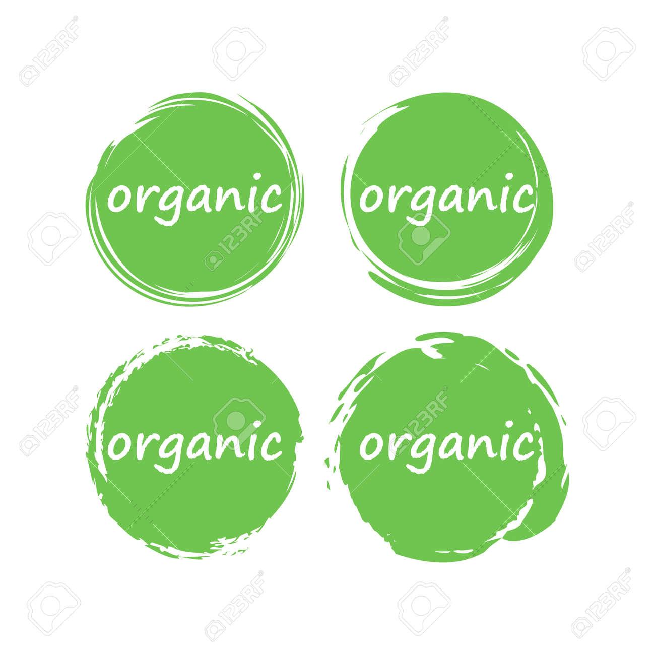 Organic food or product vector stamp. Circle dry brush organic label. - 143171297