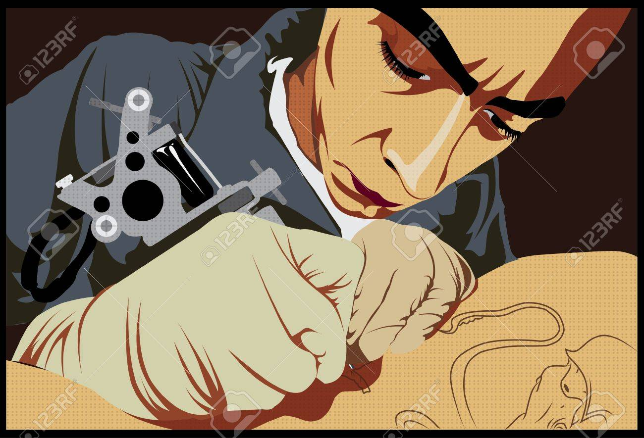 man wearing gloves and making a tattoo Stock Vector - 10437733