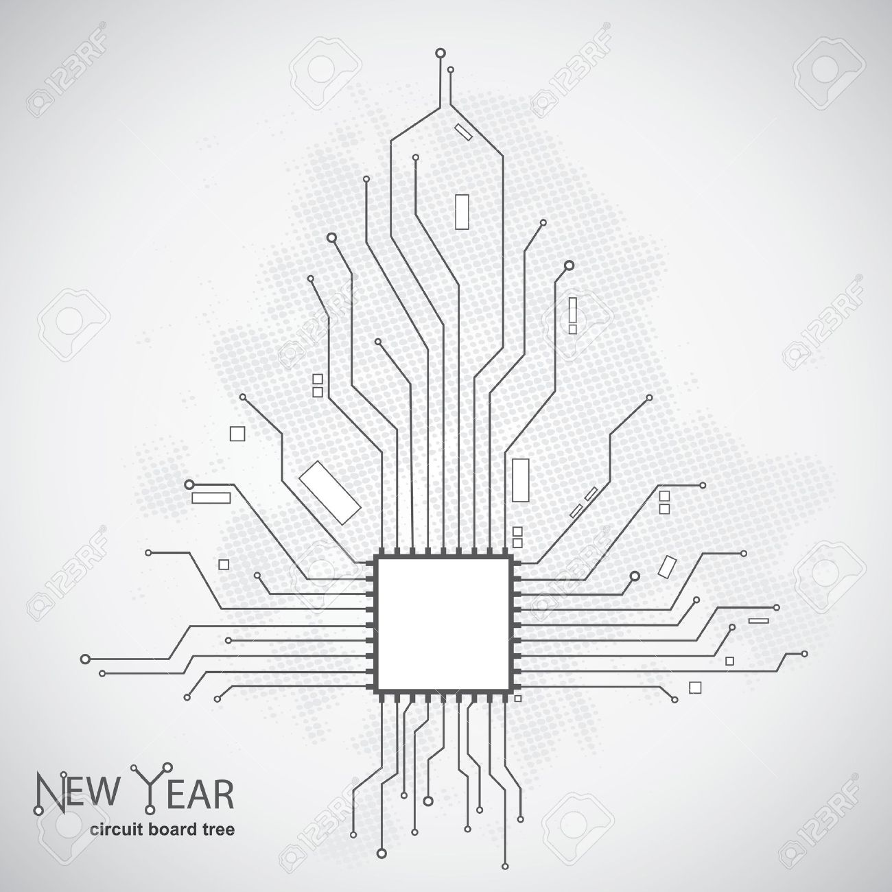 Circuit Board Pattern In The Shape Of The Christmas Tree Royalty ...