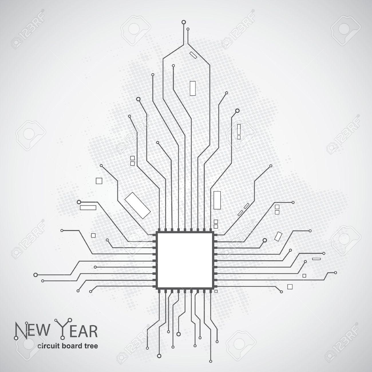 Modèle De Carte De Circuit Imprimé En Forme De L\'arbre De Noël ...
