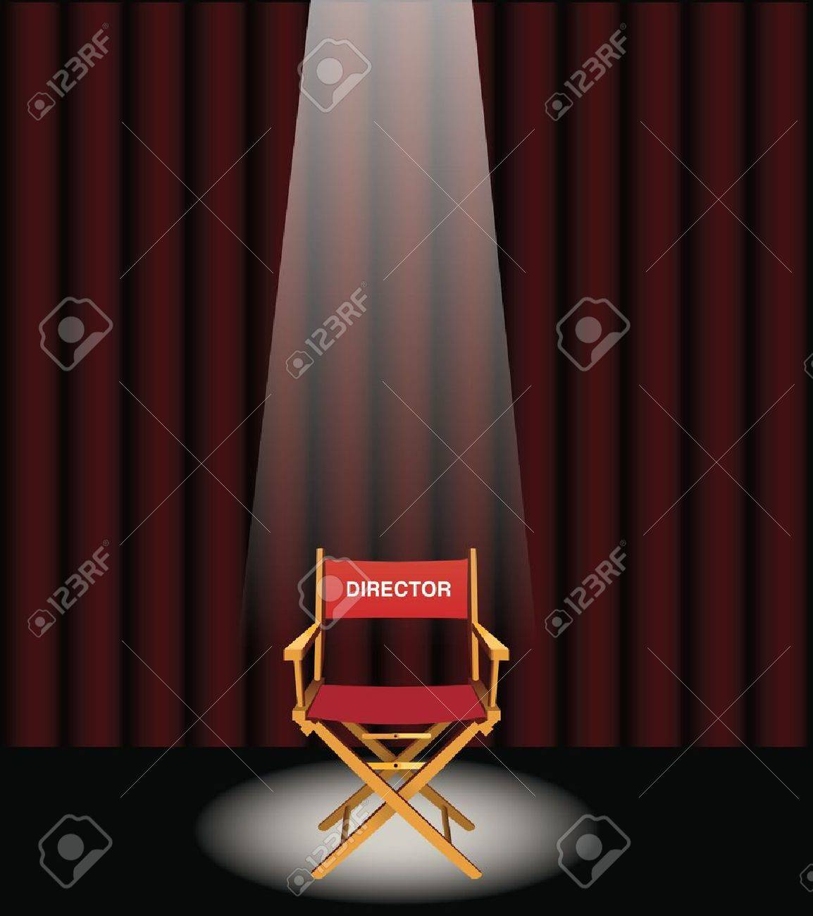 Red curtain spotlight - A Directors Chair On A Stage With A Red Curtain And Spotlight Stock Vector 19662382