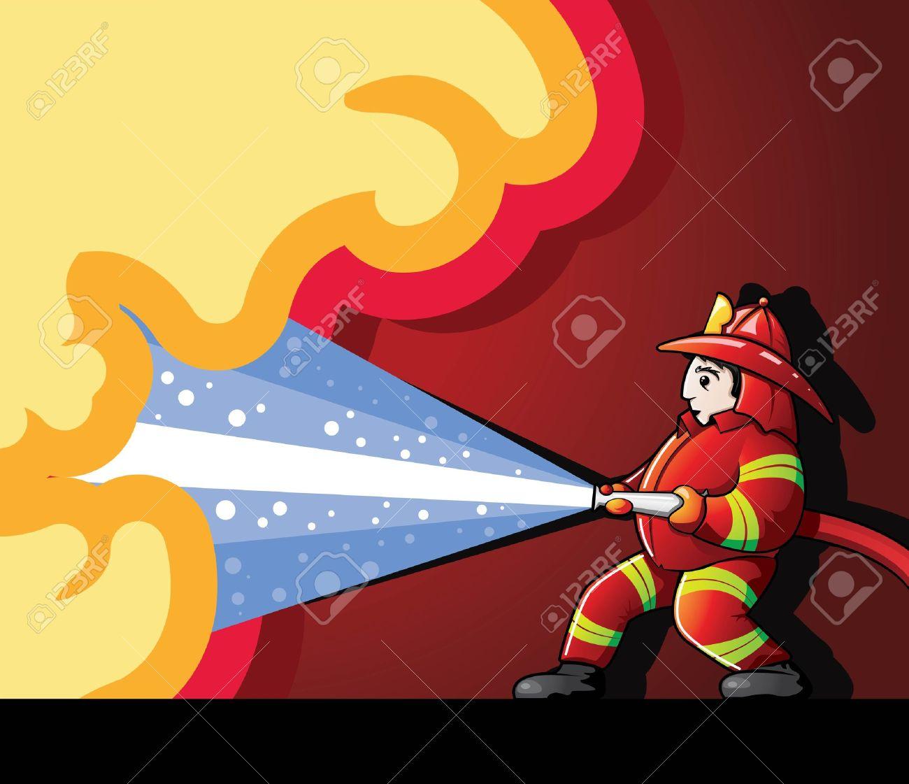 Firefighter Fighting Fire Stock Vector - 20140923