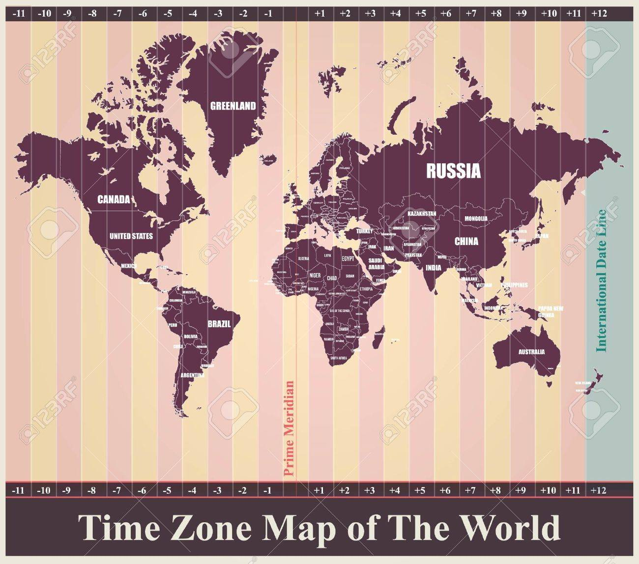 World map with standard time zones royalty free cliparts vectors vector world map with standard time zones gumiabroncs Image collections