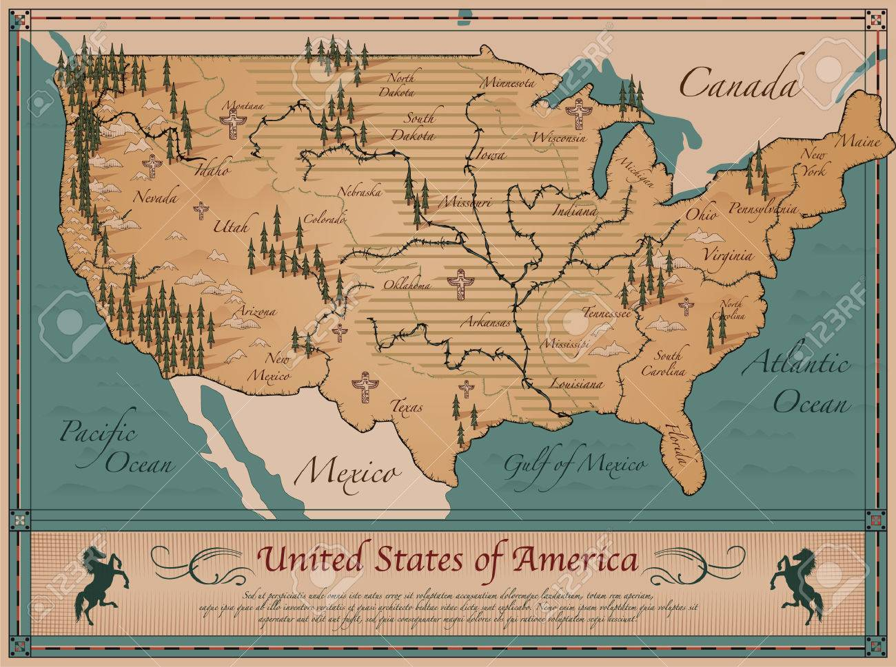 Mapa Antiguo De Los Estados Unidos De América Ilustraciones Vectoriales Clip Art Vectorizado Libre De Derechos Image 33475058