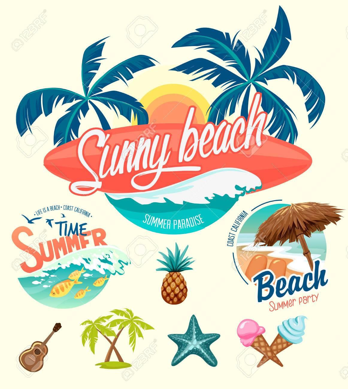 Set of Summer surfing badges and design elements - 55773840