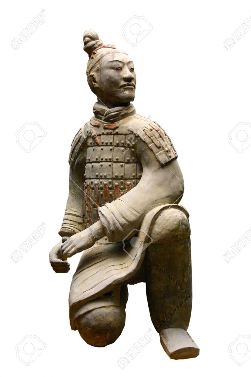 Isolated terracotta warrior (Archer) Stock Photo - 666589