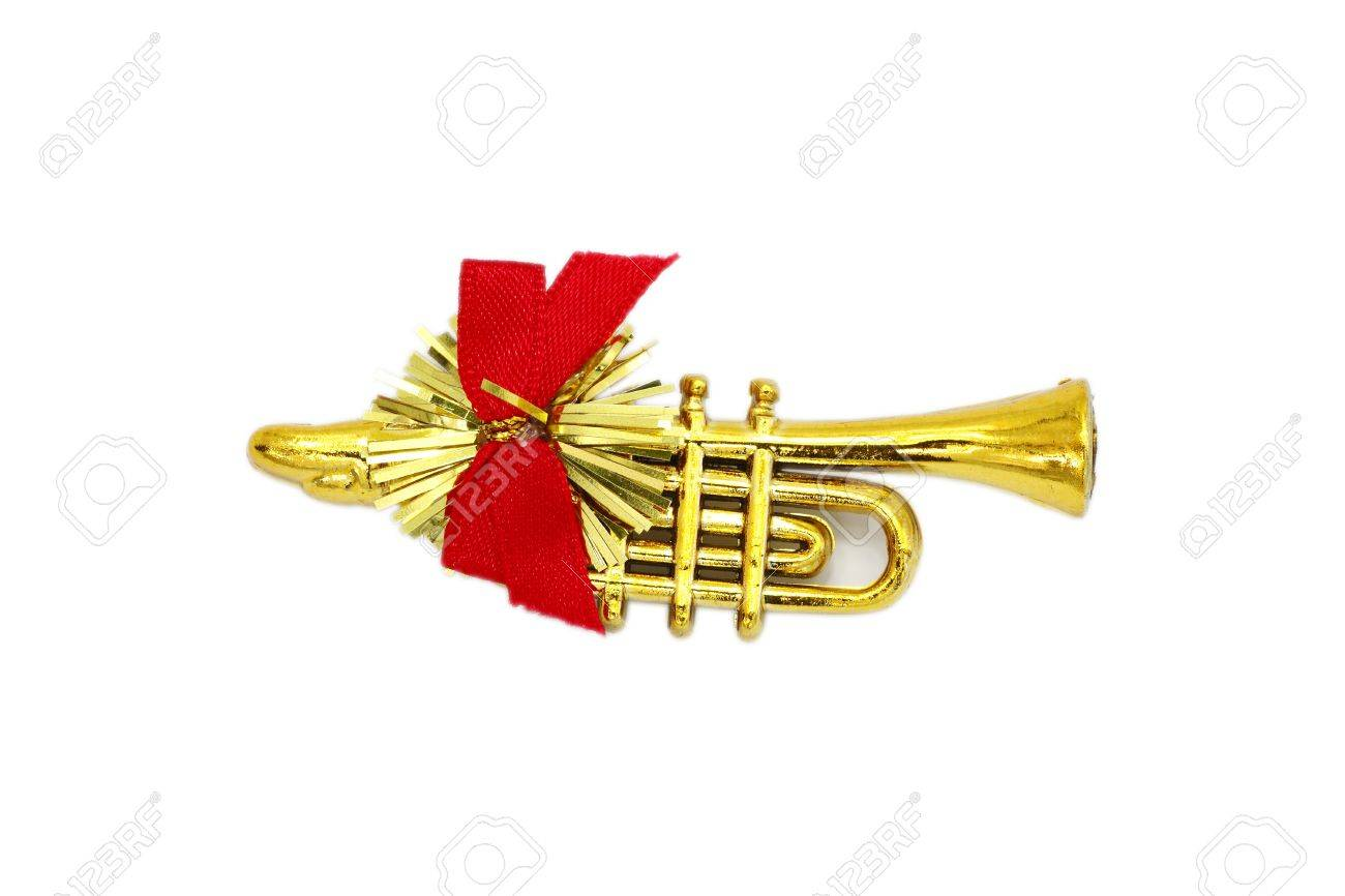 Christmas Trumpet Images.Golden Christmas Trumpet And Red Ribbon On A White Background