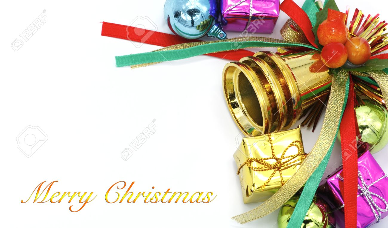 Merry Christmas And Happy New Year Card On White Background. Stock ...