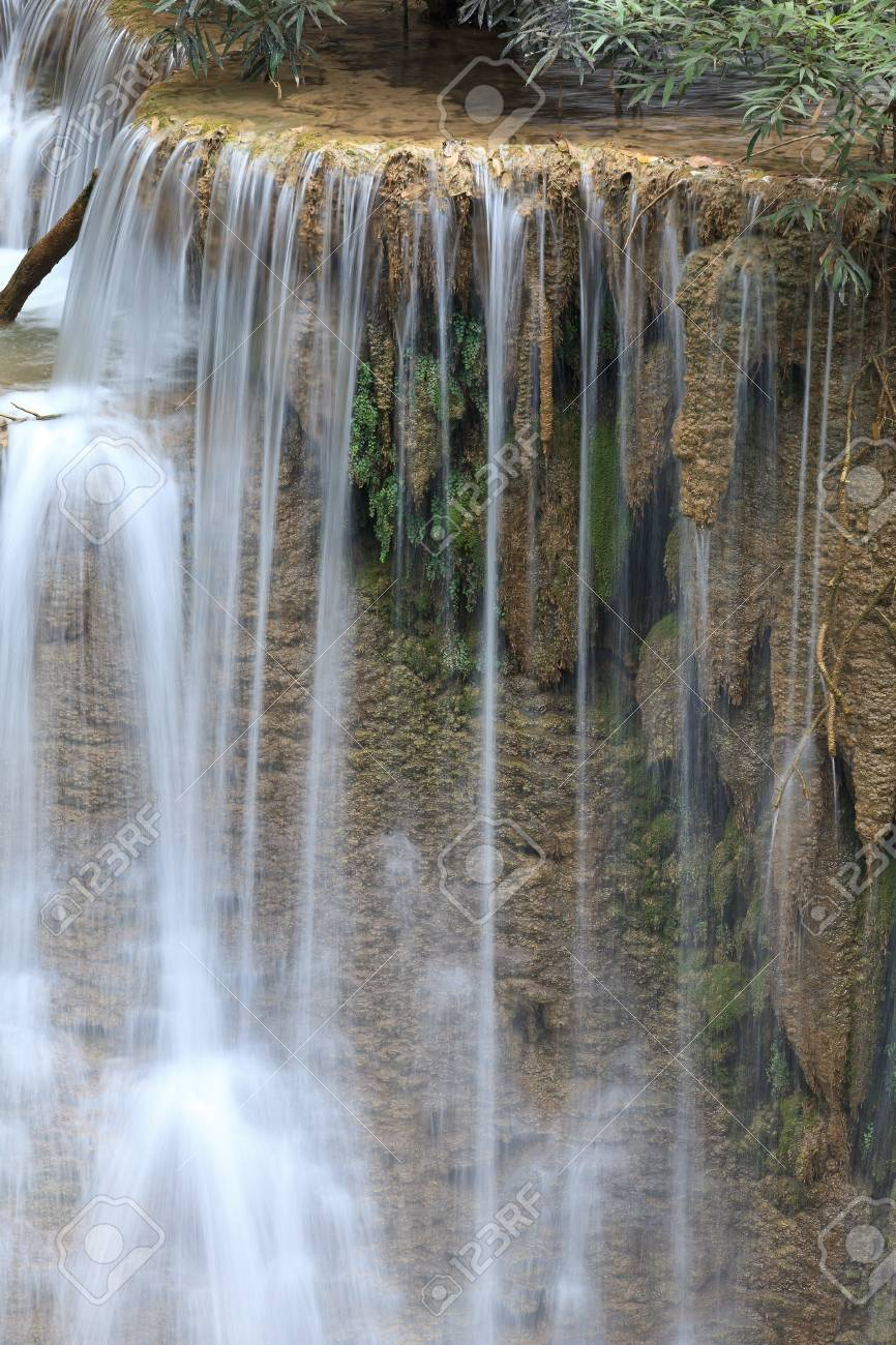 Beautiful Waterfall in Srinakarin Dam National Park , Kanchanaburi Province , Thailand Stock Photo - 14575949