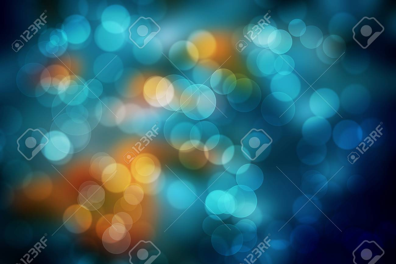 Dark Blue And Orange Bokeh Abstract Background Colorful Blurred