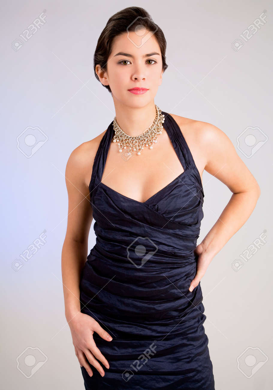 Beautiful Young Lady Of Asian Descent In An Evening Gown Stock Photo ...