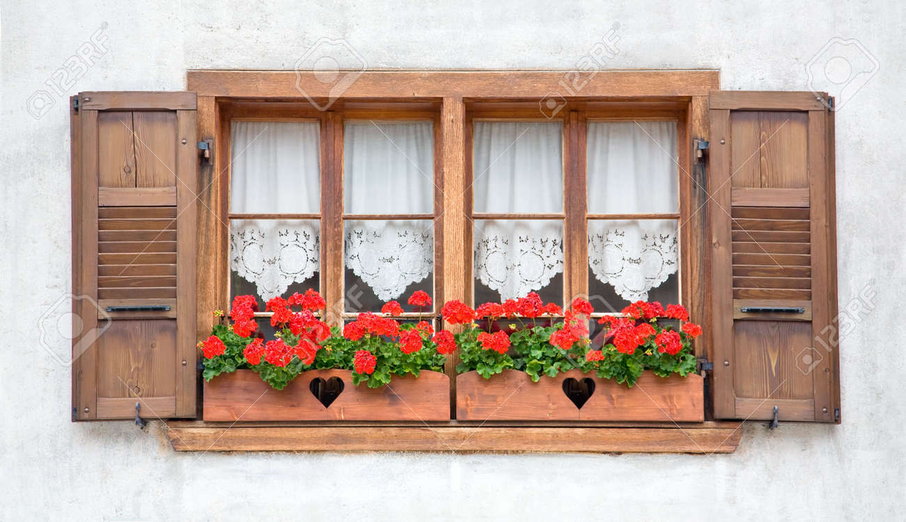 Old european wooden windows with shutters and flowers stock photo old european wooden windows with shutters and flowers stock photo 3296049 sisterspd