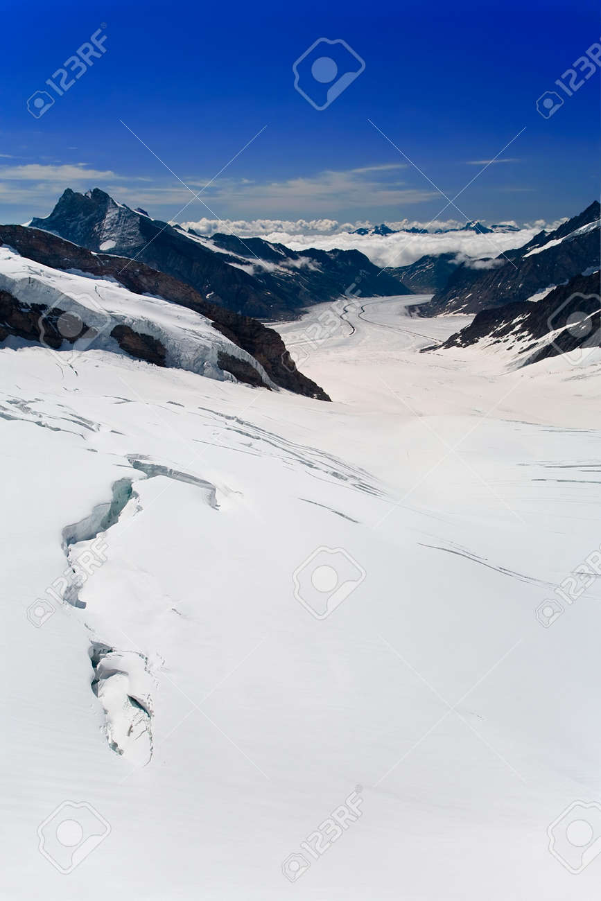 Aletsch Glacier in the Alps Switzerland Stock Photo - 3325387