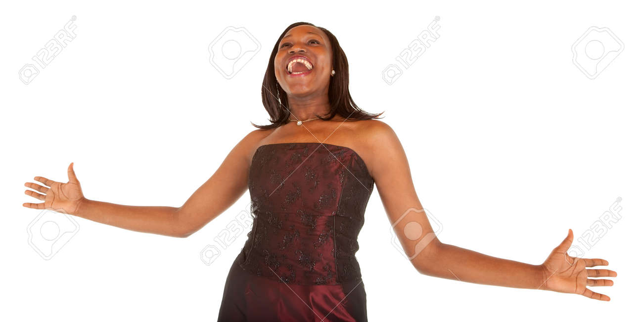 African American Woman Overjoyed about Something Stock Photo - 9766587