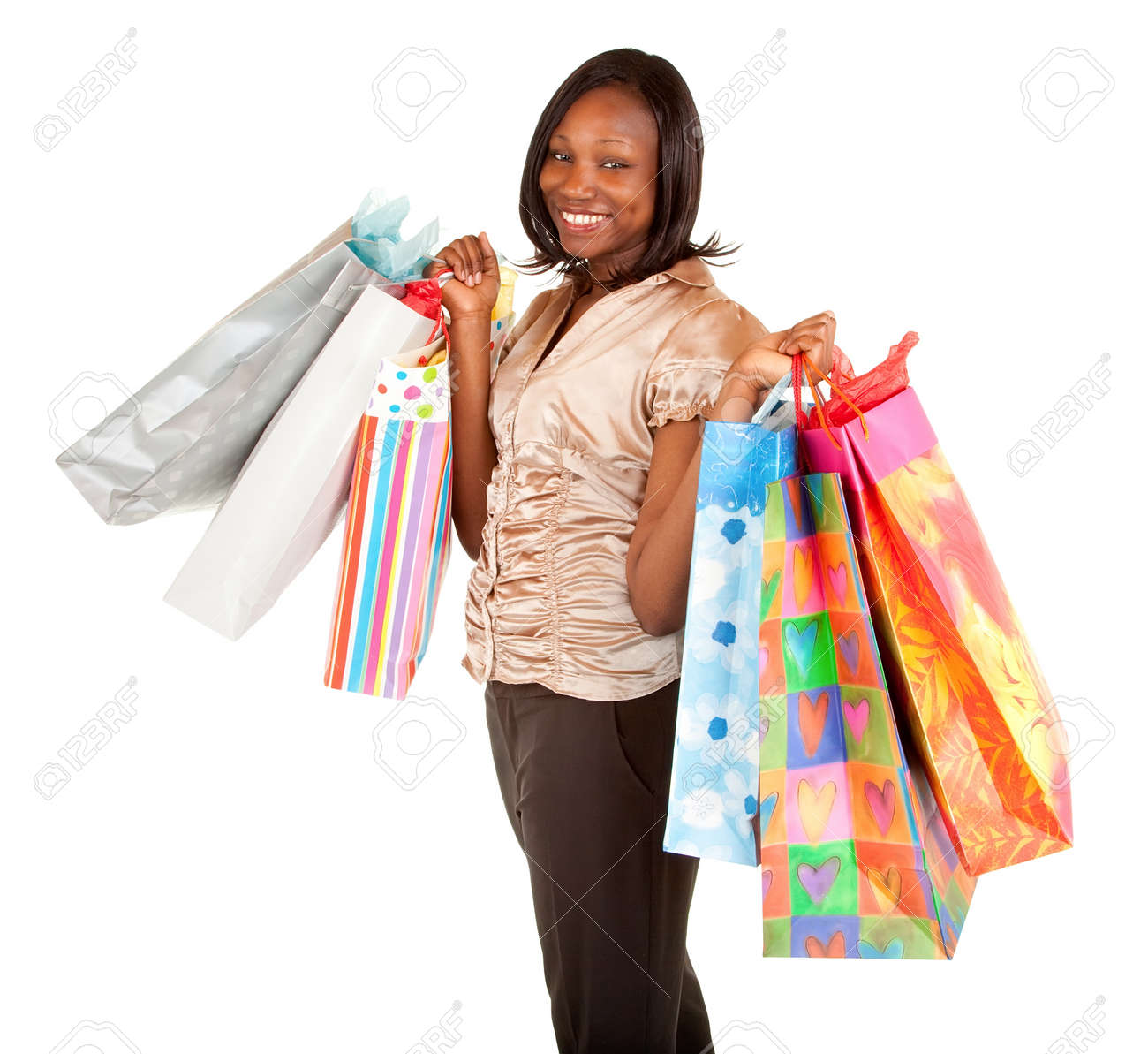 African American Woman on a Shopping Spree Stock Photo - 9766590