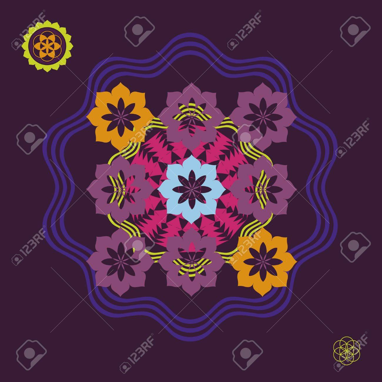 Floral spring color floral mandala Stock Vector - 18390769