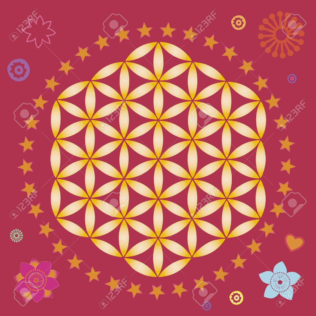 flower elements and mandalas with esoteric sense for yoga practice and design for health and wellbeing Stock Vector - 18437850