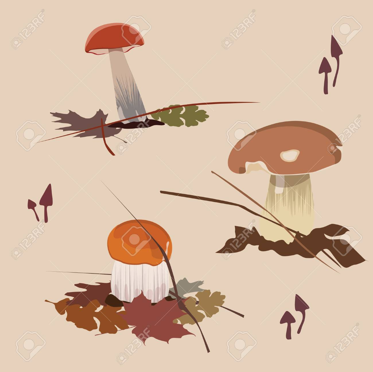 vector collection of forest mushrooms Stock Vector - 18464788