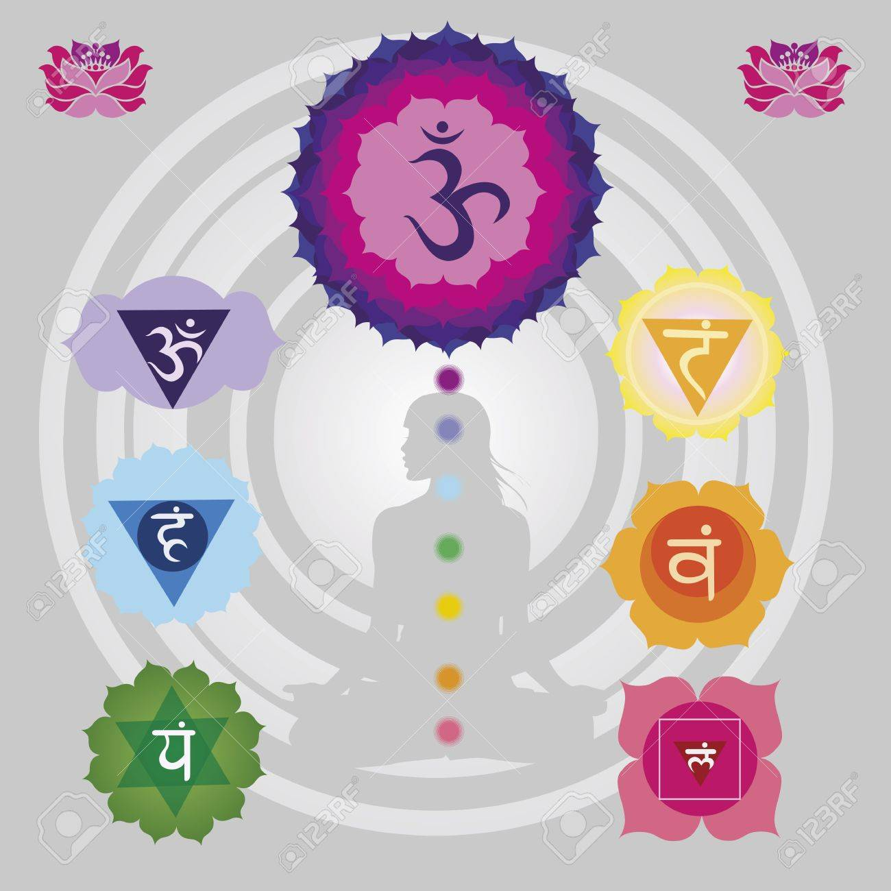 Woman silhouette in yoga position with the symbols of seven chakras  and lotuses Stock Vector - 18866742