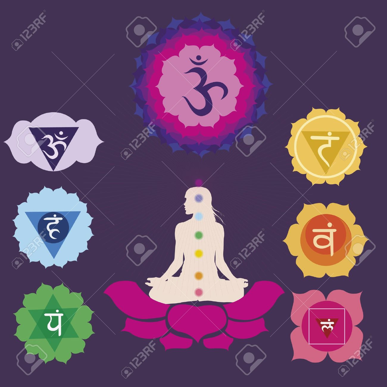 Woman silhouette in yoga position with the symbols of  seven chakras Stock Vector - 18868142
