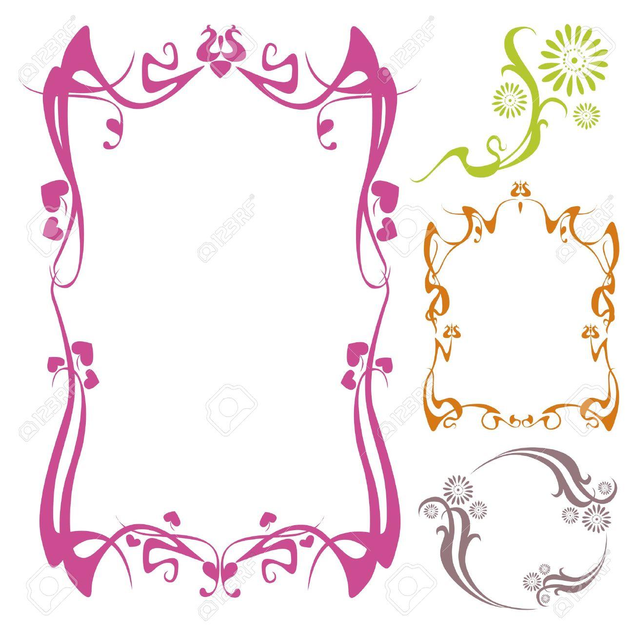 vector neo art nouveau floral frame designs