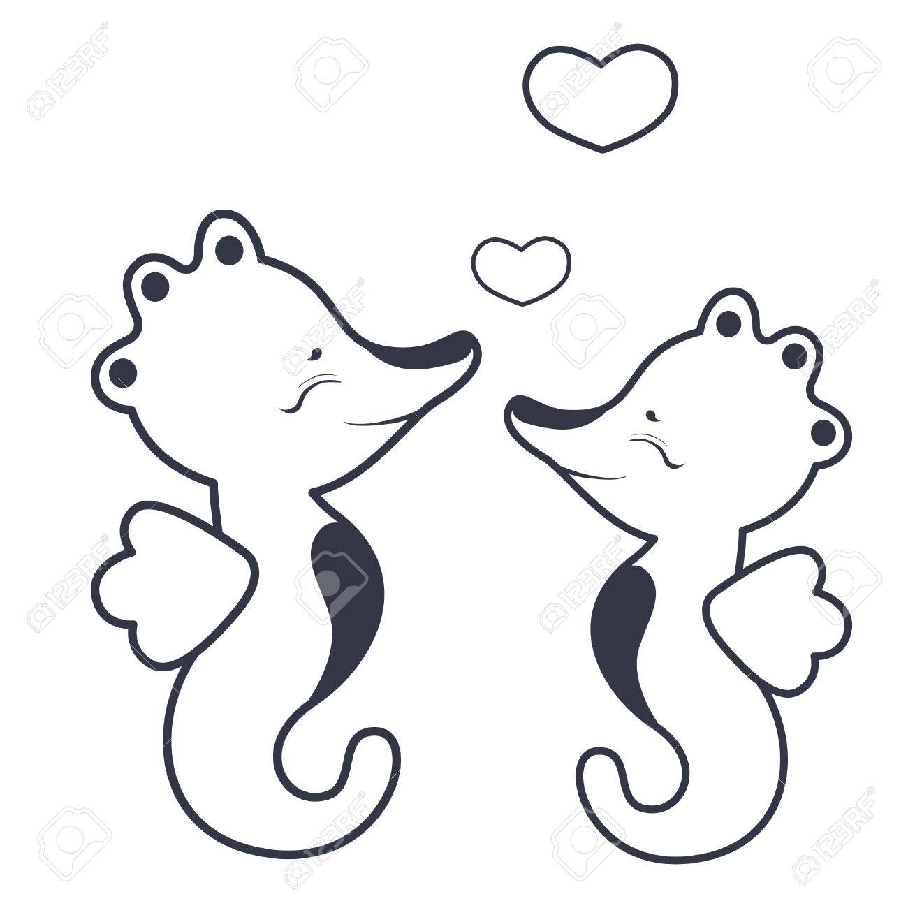 Seahorses In Love Coloring Book Royalty Free Cliparts, Vectors, And ...