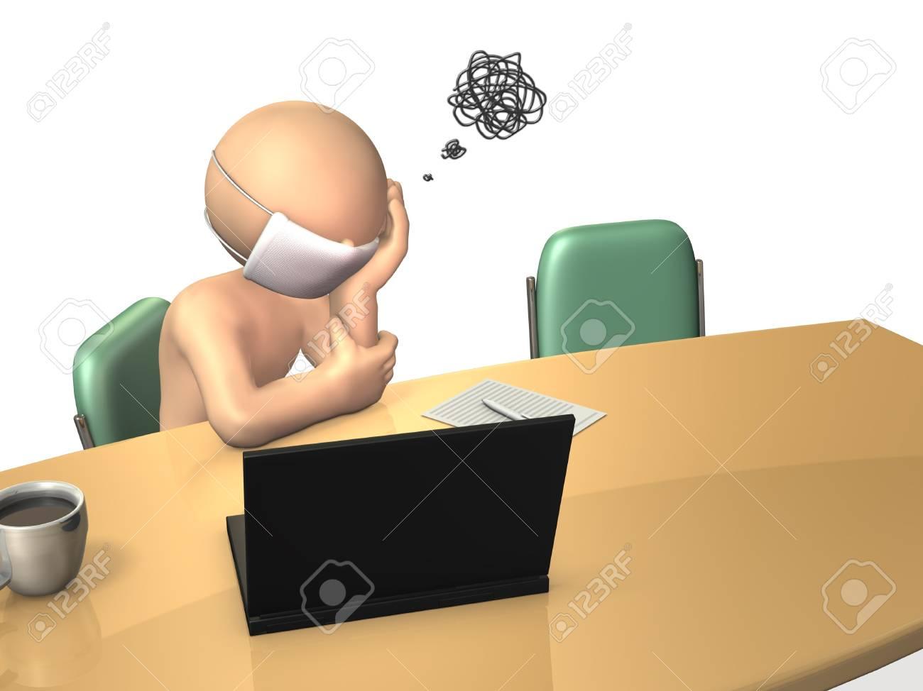 Businessman has terrible headache Stock Photo - 18172303