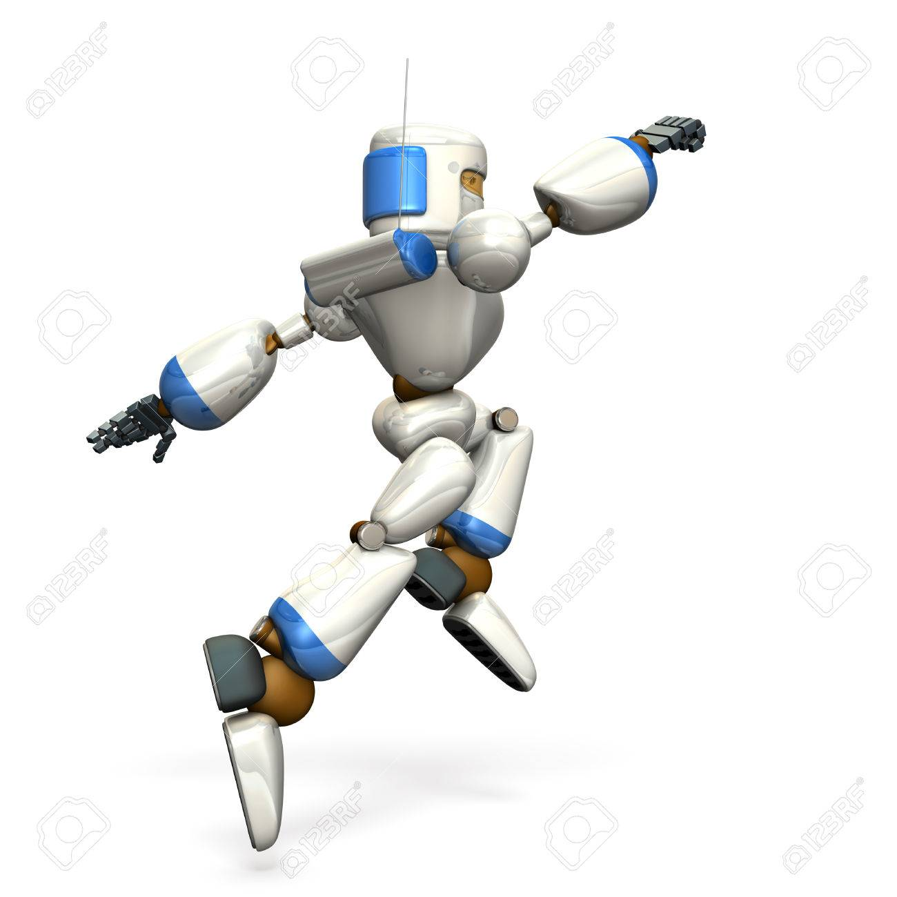 Robot is jumping toward the target  isolated, computer generated