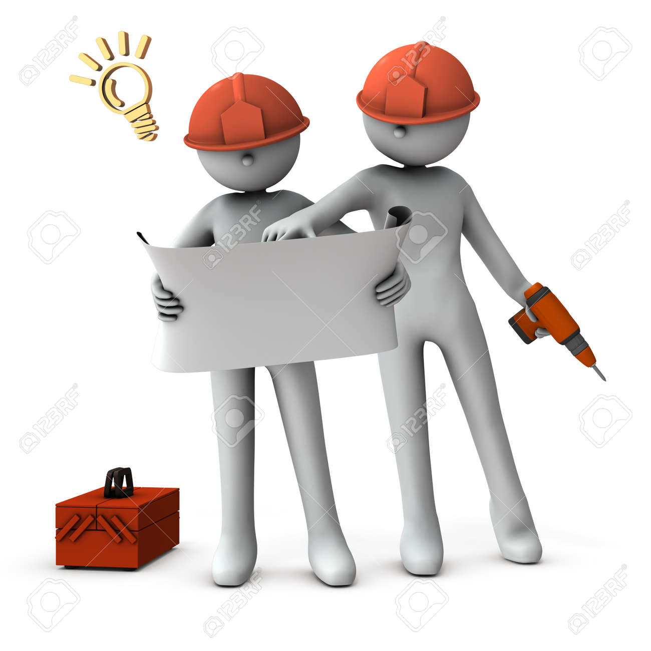 Engineers who check drawings and solve problems. White background. 3D rendering. - 154731488
