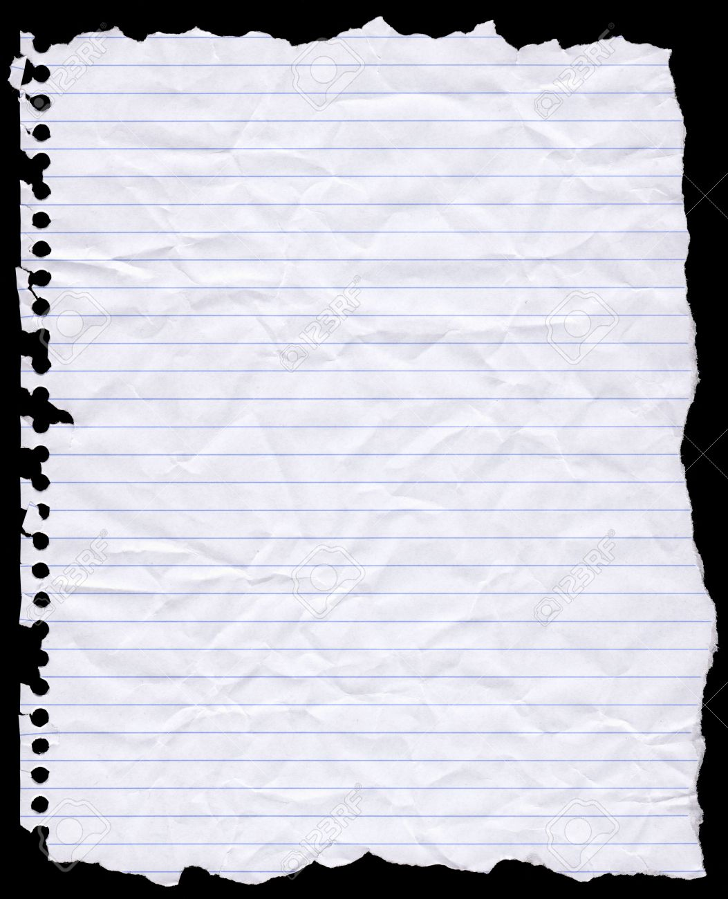 a piece of torn lined writing paper from a wire bound notebook